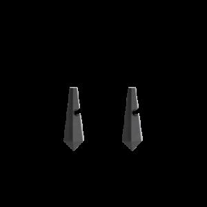 zilveren Equiv stekercreolen waaraan verwisselbare in pyramidevorm en gefacetteerd geslepen Obsidiaan creoolhangers van 26 mm x 9 mm hangen - 209040