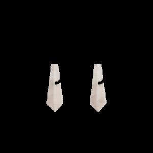 zilveren Equiv stekercreolen waaraan verwisselbare in pyramidevorm en gefacetteerd geslepen Rosequartz creoolhangers van 26 mm x 9 mm hangen - 209039