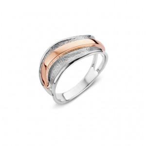 eNGi zilveren ring met 14 krt rosé goud - 303673