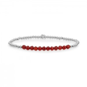 Sparkling Jewels armband;  zilver, red Agate 3mm Line - 211413