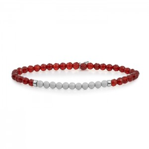Sparkling Jewels armband;  zilver, red Agate 3mm champagne - 211414