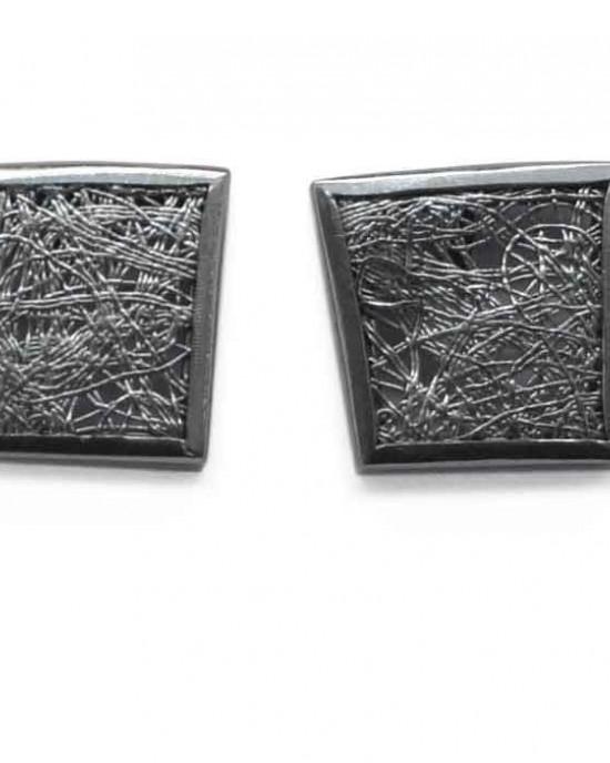 Gill Galloway oorstekers met geoxydeerd fijnzilver 999/000 en wit zilveren lijnenspel - 208665