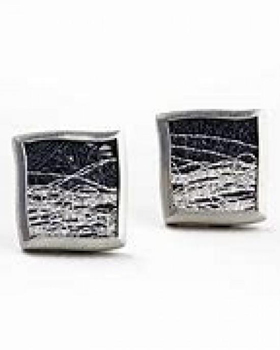 Gill Galloway oorstekers met geoxydeerd fijnzilver 999/000 en wit zilveren lijnenspel - 208664