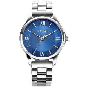 Zinzi horloge; classy mini 30 mm blauwe wijzerplaat stalen kast en band - 212100