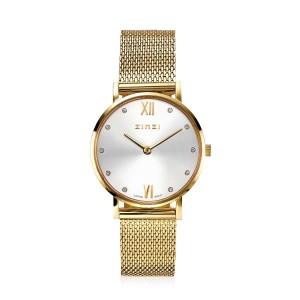 Zinzi  Lady horloge doublé, goudkleurige wijzerplaat + zirconia met doublé milanaise band ; ZIW633M - 210039